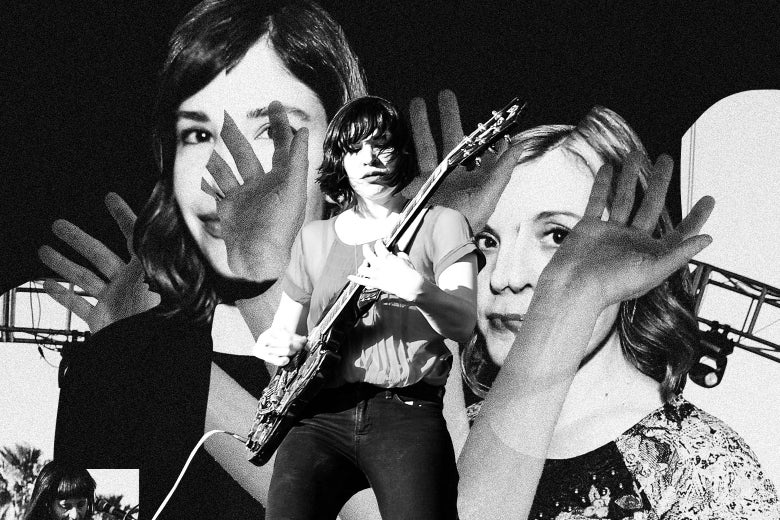 Collage featuring Carrie Brownstein and Corin Tucker of Sleater-Kinney