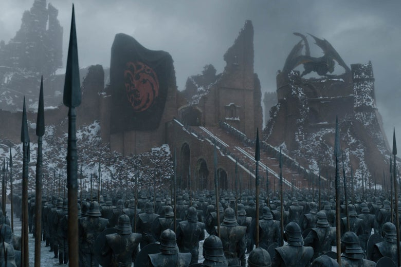 Daenerys greats her armies as her dragon looks on, in a sequence straight out of Triumph of the Will