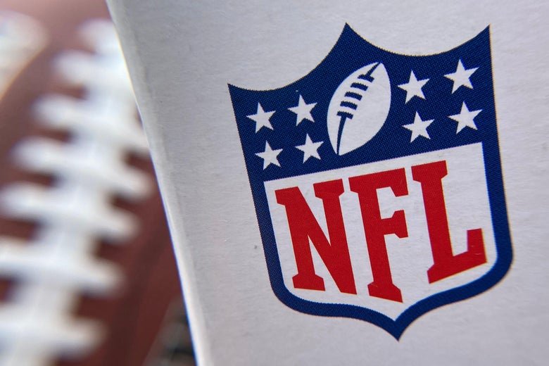 The NFL logo is seen on a football packaging.