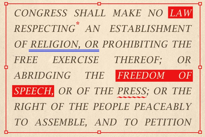 A portion of the text of the First Amendment, with editing marks