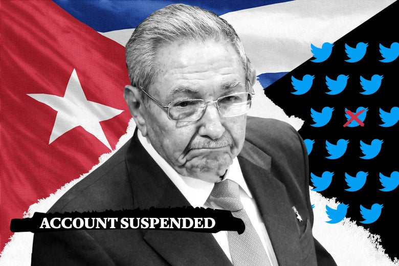 "Raúl Castro with a Cuban flag, Twitter logos, and text reading ""Account Suspended."""