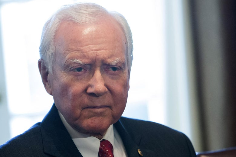 WASHINGTON, D.C. - OCTOBER 18: (AFP-OUT) Sen. Orrin Hatch (R-UT), Chairman of the Senate Finance Committee, listens to U.S. President Donald Trump speak during a meeting  with members of the Senate Finance Committee and his economic team October 18, 2017 at the White House in Washington, D.C. (Photo by Chris Kleponis-Pool/Getty Images)