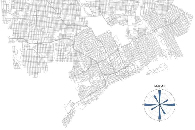 A map of Detroit alongside a histogram of street orientation.