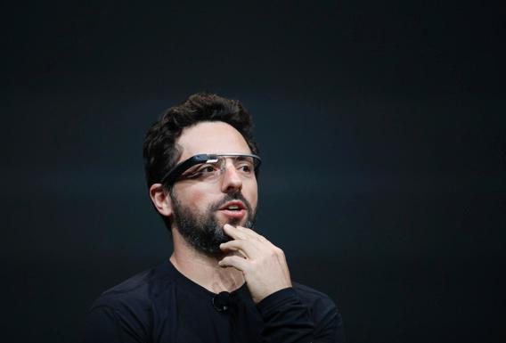 Sergey Brin, co-founder of Google appear at the keynote with the Google Glass to introduce the Google Class Explorer edition during Google's annual developer conference, Google I/O, on June 27, 2012 in San Francisco.