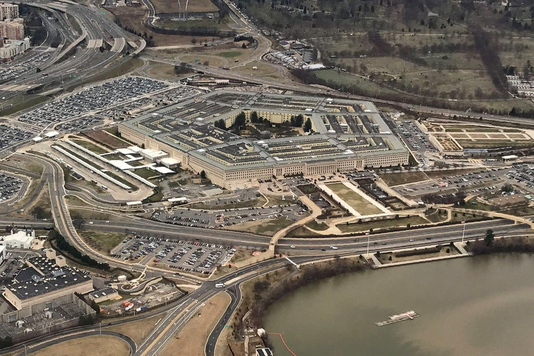 The Pentagon, the headquarters of the Department of Defense, located in Arlington County, across the Potomac River from Washington, D.C. is seen from the air January 24, 2017.