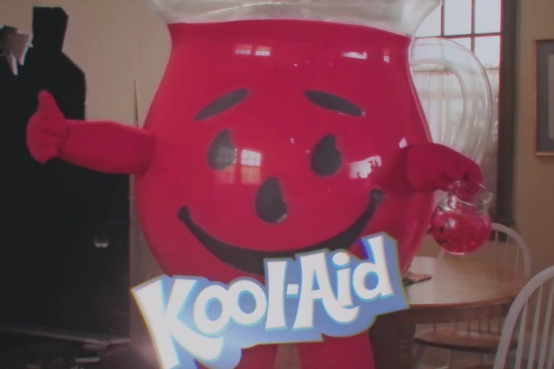 Kool-Aid Man, a giant anthropomorphic pitcher of Kool-Aid, giving a thumbs-up.
