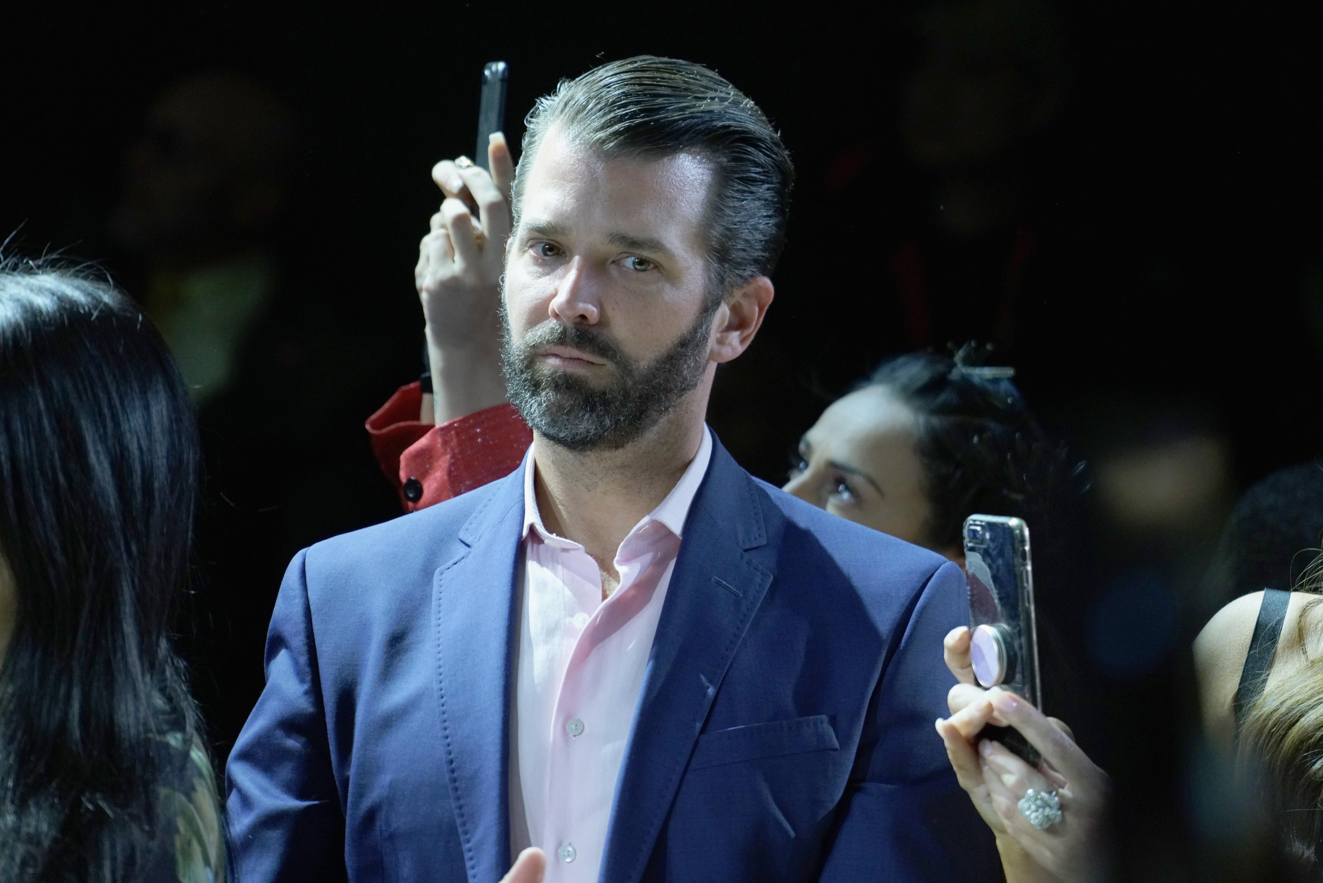 Donald Trump Jr. attends New York Fashion Week: The Shows at Spring Studios on February 13, 2019 in New York City.