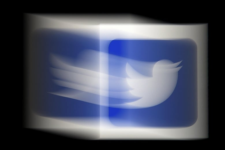 The blue Twitter logo with a white bird in motion.