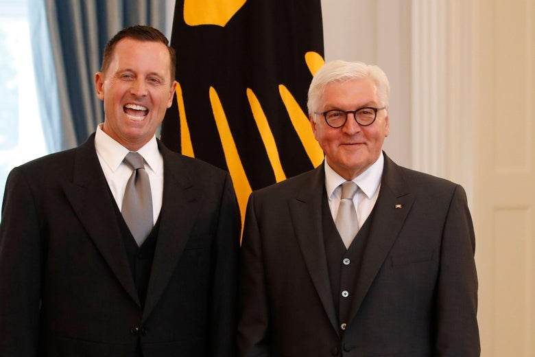 Richard Allen Grenell makes a face while posing with German President Frank-Walter Steinmeier.