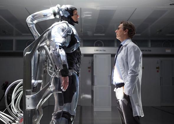 Gary Oldman and Joel Kinnaman in RoboCop.