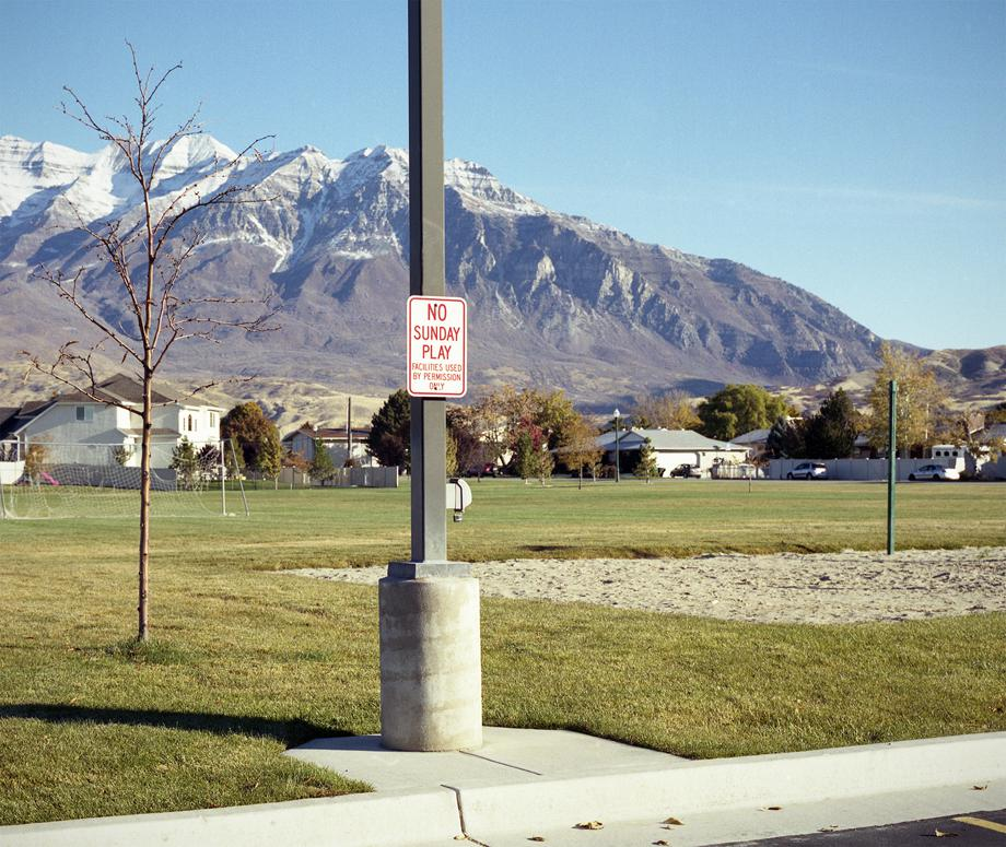 A sign indicating no use on Sunday at a sports field belonging to the LDS church in Provo, Utah. Provo is home to Brigham Young University and the population is around 90 percent Mormon.