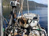 The skiff balanced on the stern