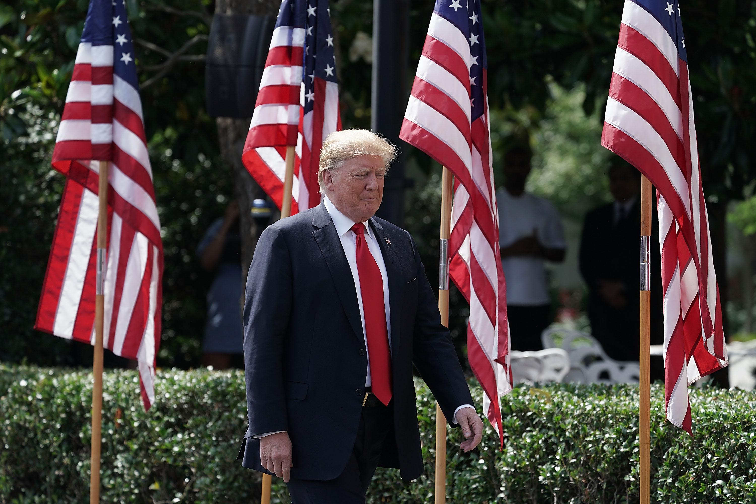 WASHINGTON, DC - JUNE 05:  U.S. President Donald Trump arrives at a 'Celebration of America' event on the south lawn of the White House June 5, 2018 in Washington, DC. The event, originally intended to honor the Super Bowl champion Philadelphia Eagles, was changed after the majority of the team declined to attend the event due to a disagreement with Trump over NFL players kneeling during the national anthem.  (Photo by Alex Wong/Getty Images)