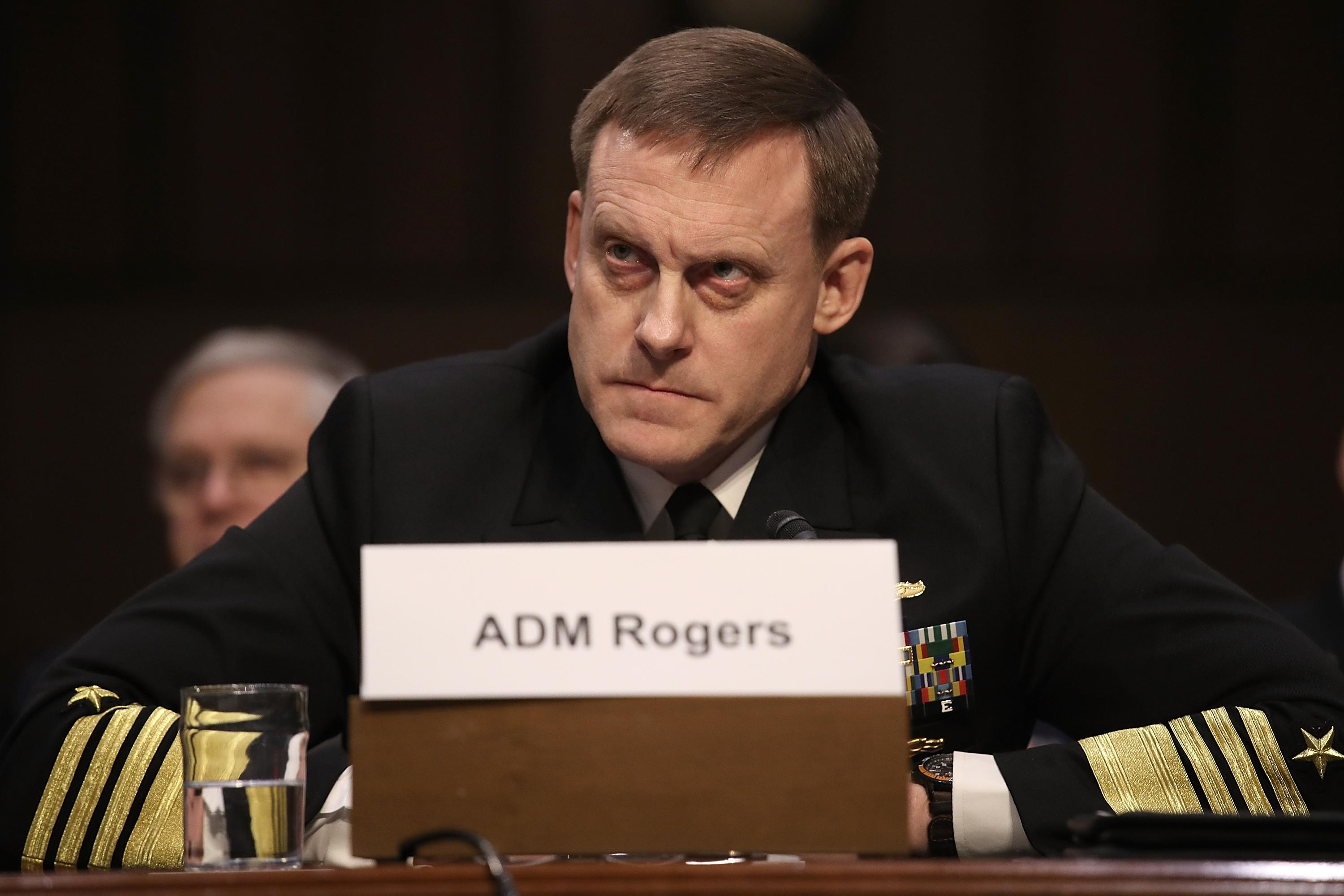 Navy Adm. Michael Rogers, commander of the United States Cyber Command, director of the National Security Agency and chief of Central Security Services, testifies before the Senate Armed Services Committee February 27, 2018 in Washington, DC.
