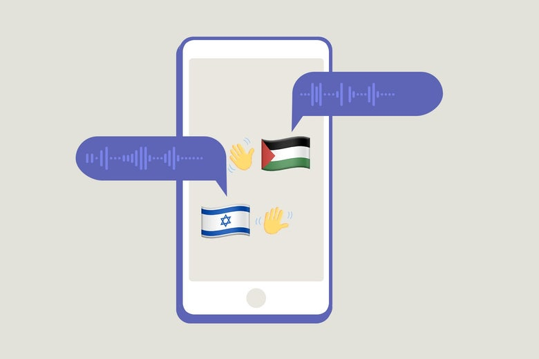 A smartphone with a two waving-hand emojis next to an Israeli and Palestinian flag, with audio bubbles next to them.