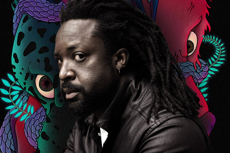 Marlon James against a backdrop reminiscent of his book cover.