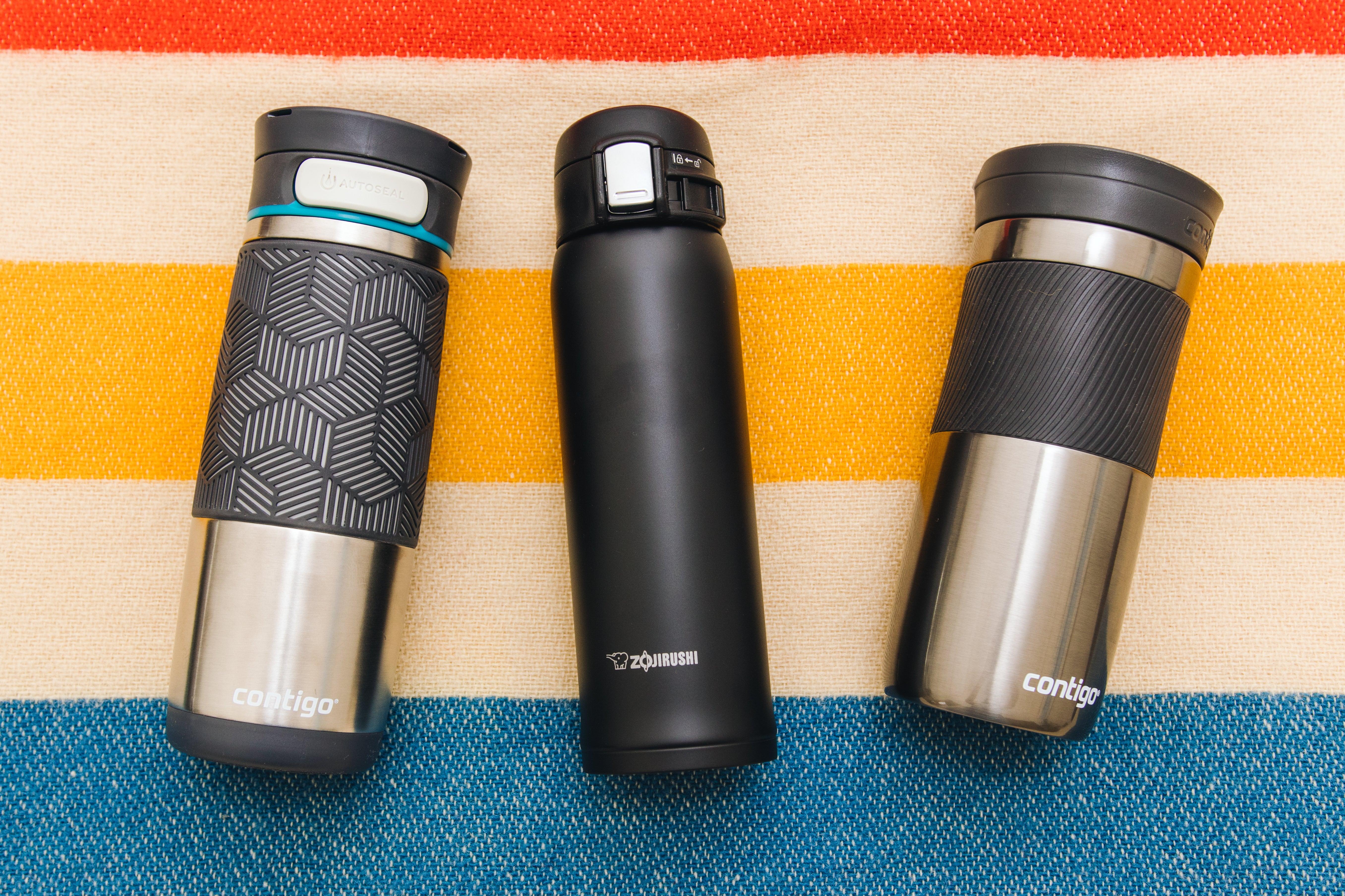 assorted travel mugs