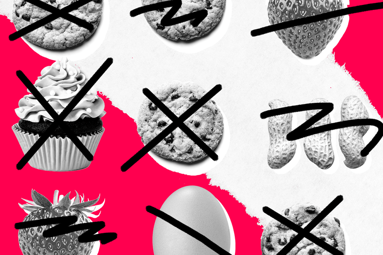 High-allergy foods like cookies, peanuts, and cupcakes, crossed out.