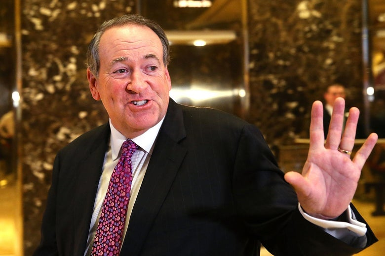 Mike Huckabee leaves Trump Tower on November 18, 2016 in New York City.