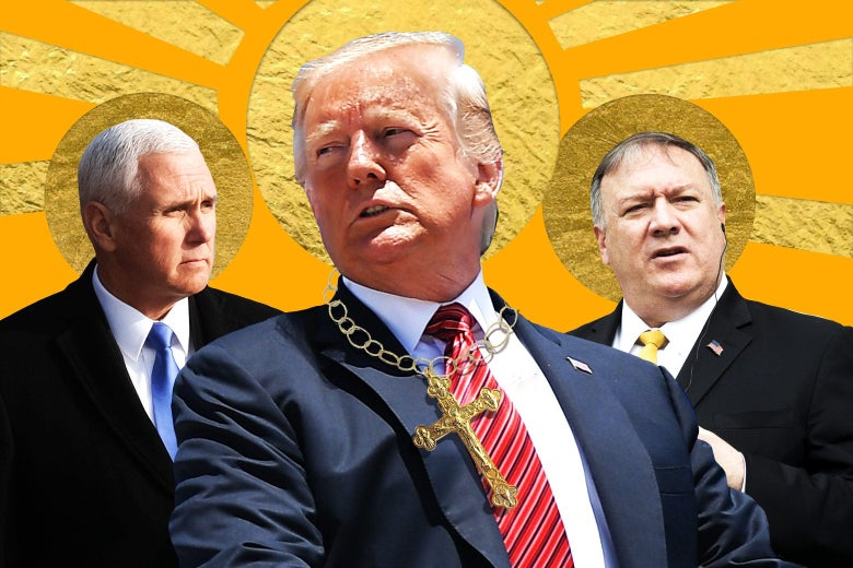 Mike Pence, Donald Trump, and Mike Pompeo, depicted as if in a religious painting.