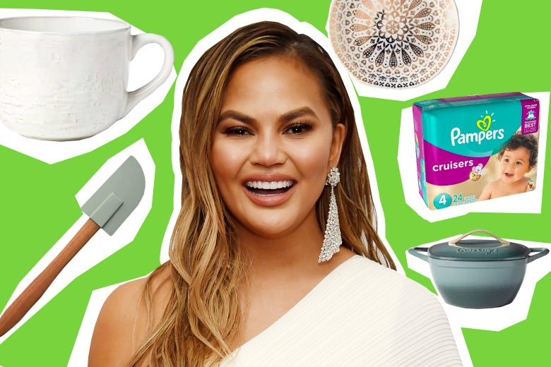 Chrissy Teigen, surrounded by products she endorses.