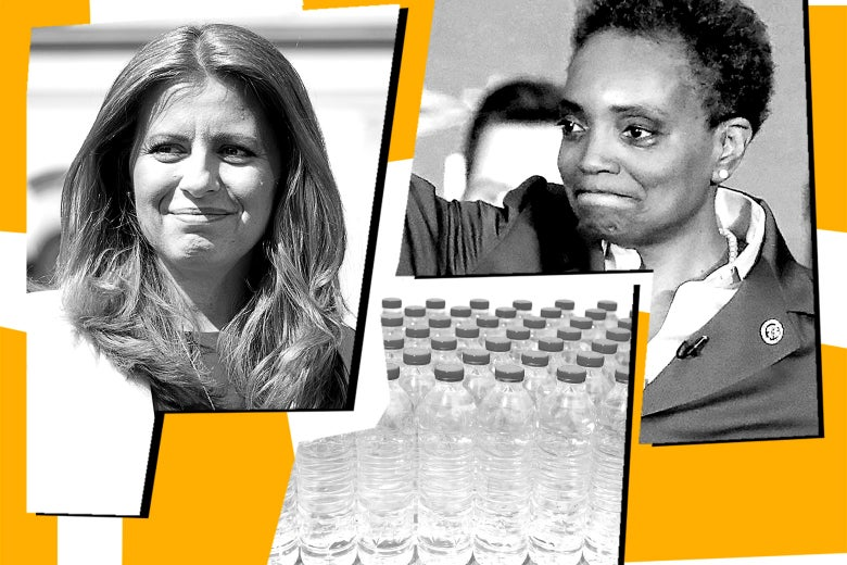 Zuzana Caputova, Lori Lightfoot, and bottled water.