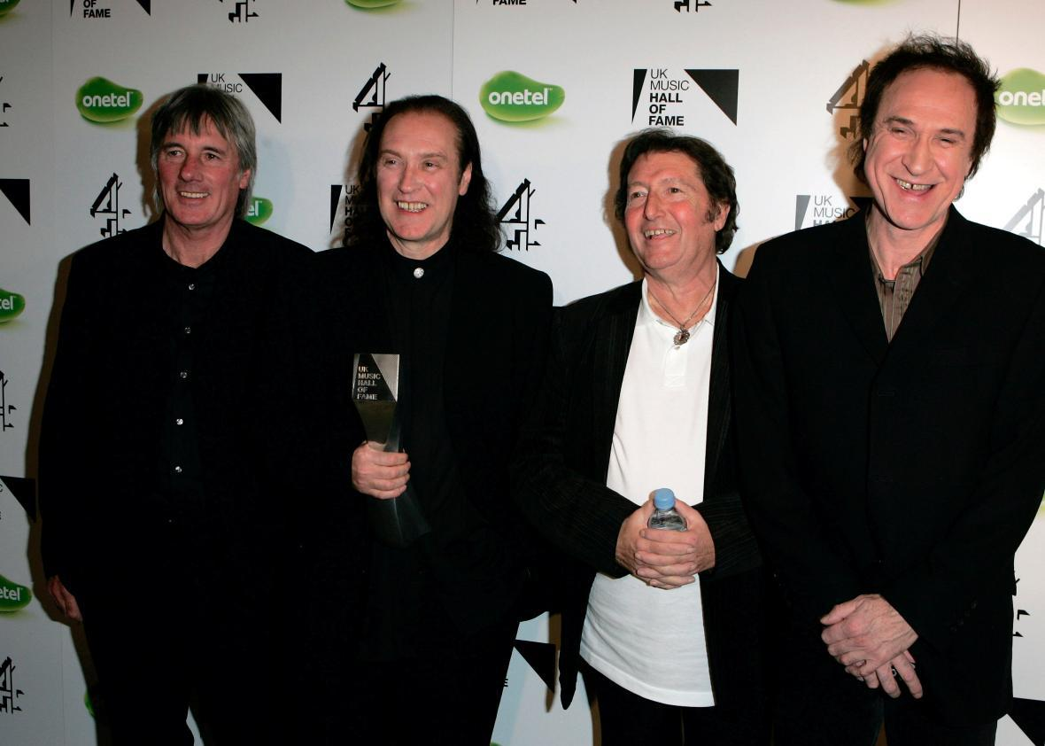 The Kinks band members Mick Avory, Dave Davies, Peter Quaife, and Ray Davies in 2005.