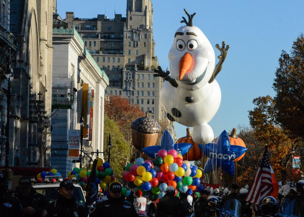 An Olaf float in the Macy's parade