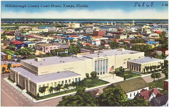 The Hillsborough County Courthouse in Tampa, Florida, circa 1940