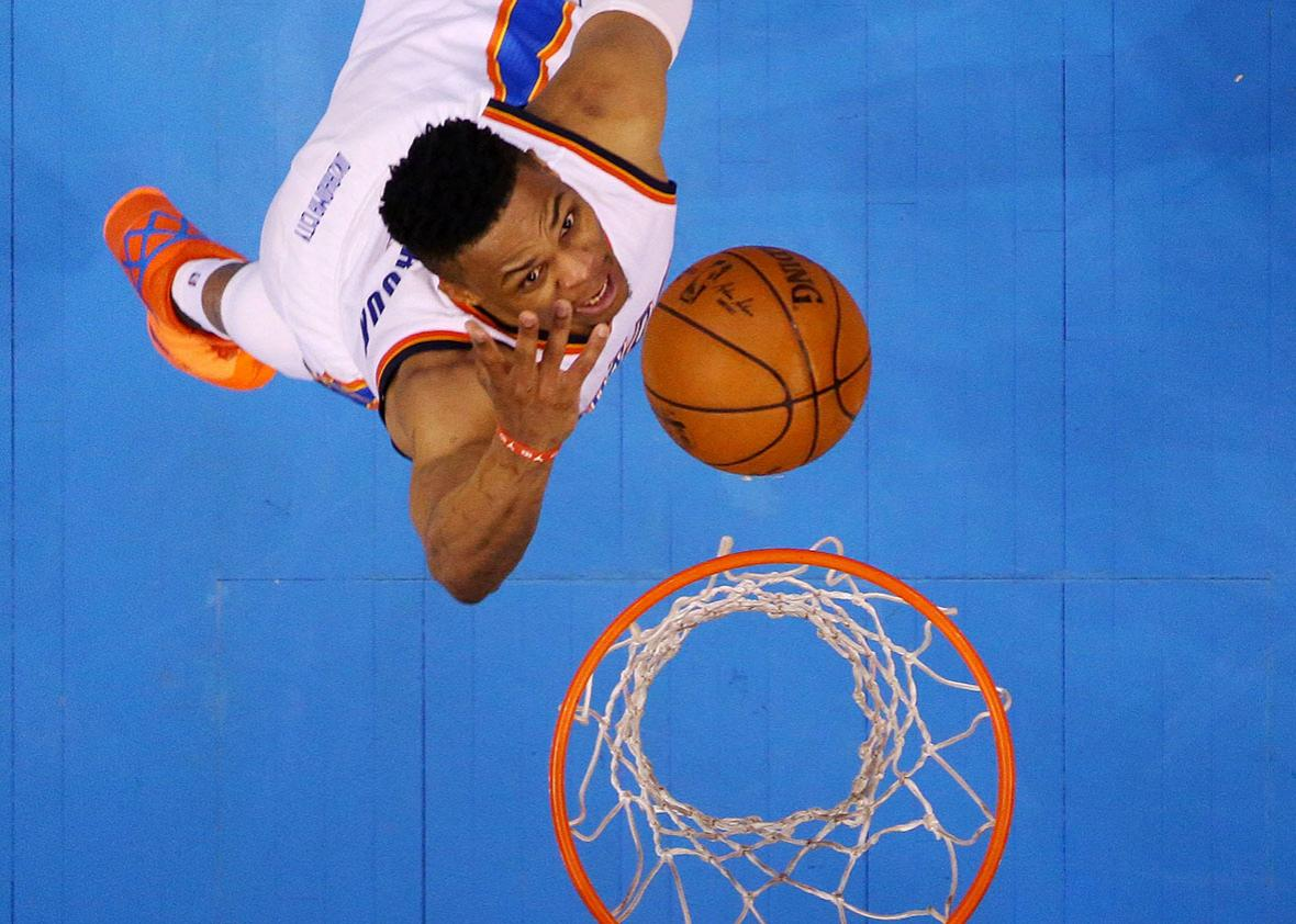 Russell Westbrook of the Oklahoma City Thunder goes up against the Golden State Warriors in the first half in game three of the Western Conference Finals during the 2016 NBA Playoffs at Chesapeake Energy Arena on May 22, 2016 in Oklahoma City, Oklahoma.