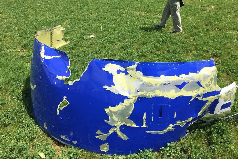 A recovered piece of engine cowling from the Southwest Airlines plane in an image released by the National Transportation Safety Board.