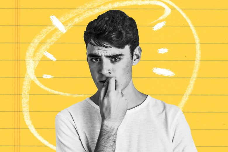Teenage boy looking nervous