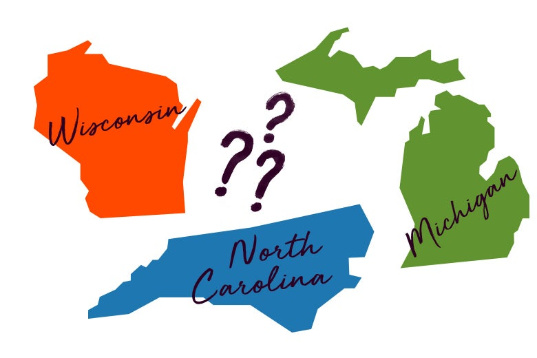 Illustration: Colorful images of Wisconsin, Michigan, and North Carolina with several question marks between them.