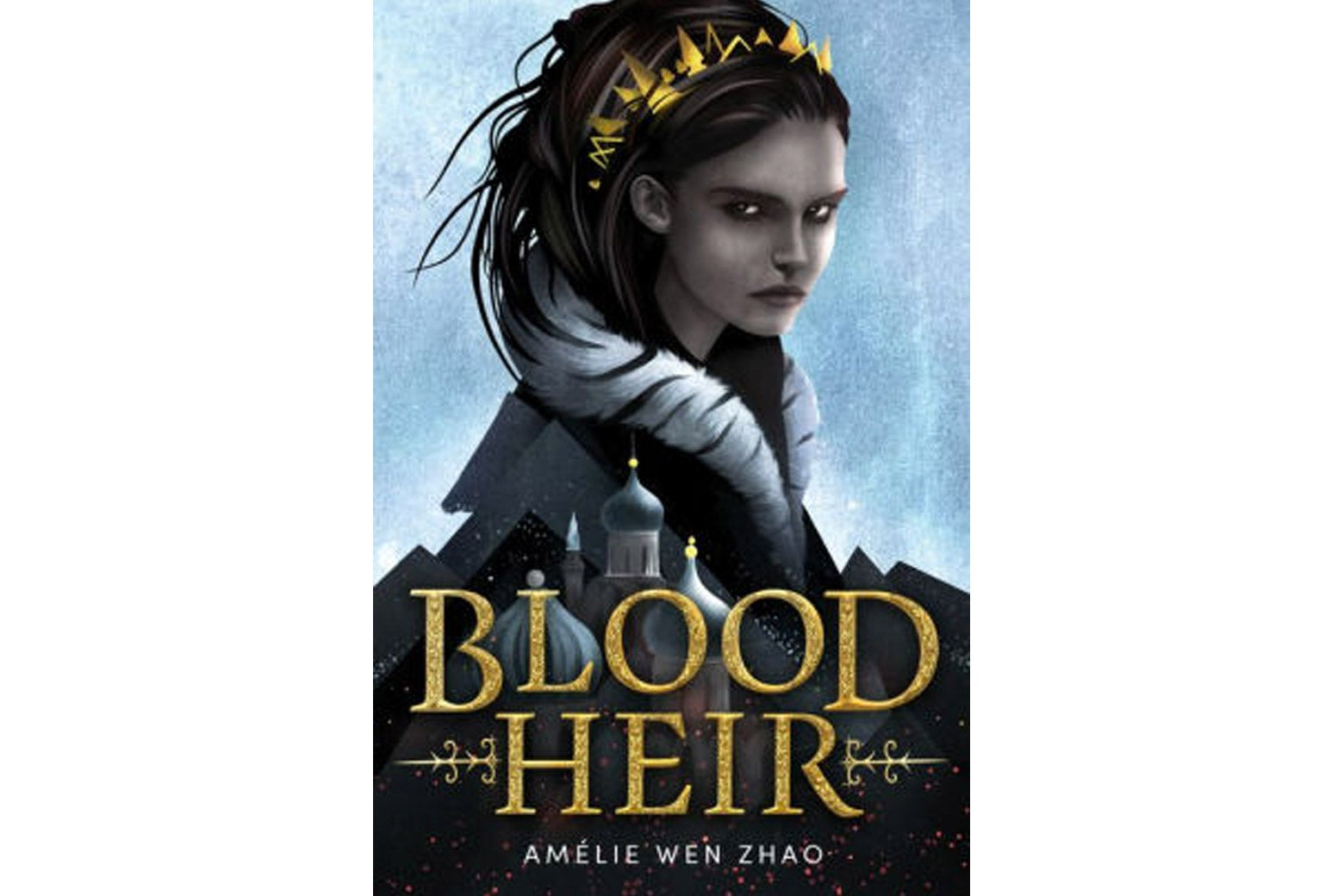 The cover of the book, Blood Heir, featuring an illustration of a dark-haired, light-skinned woman in a crown.