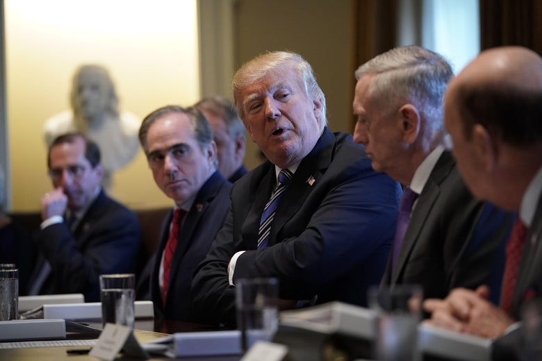 US President Donald Trump speaks during a Cabinet meeting in the Cabinet Room of the White House on March 8, 2018 in Washington, DC. / AFP PHOTO / Mandel NGAN        (Photo credit should read MANDEL NGAN/AFP/Getty Images)