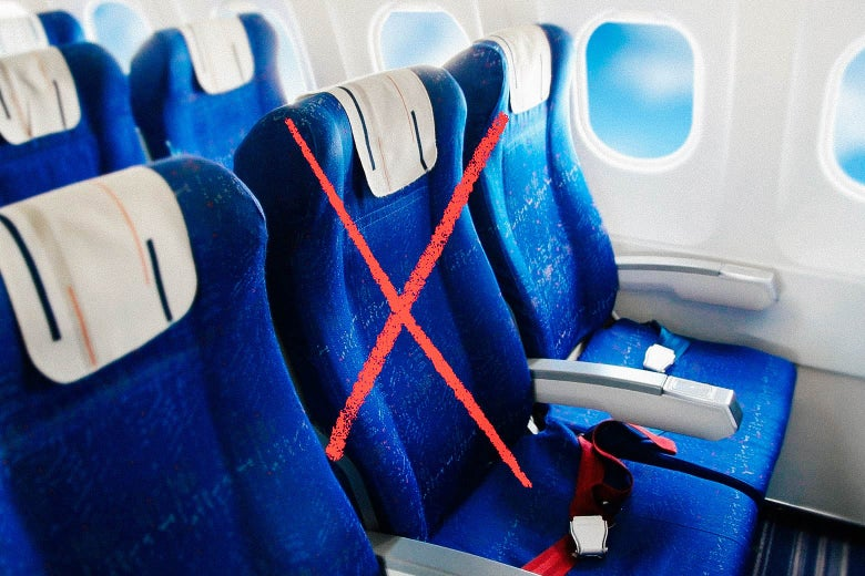 A row of seats on an airplane with the middle seat crossed out. Don't book passengers there!
