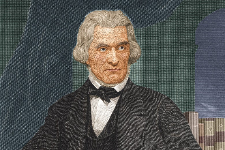 Painting of Calhoun looking stern in front of a curtain and a bookshelf