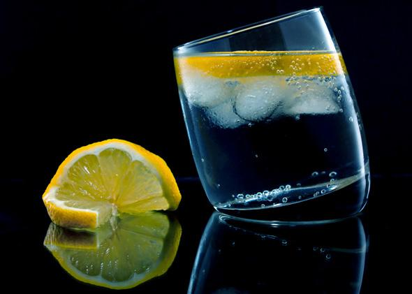 Gin and tonic with a slice of lemon.