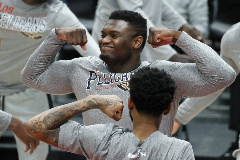 PORTLAND, OREGON - MARCH 18: Zion Williamson #1 of the New Orleans Pelicans is announced before the game against the Portland Trail Blazers at Moda Center on March 18, 2021 in Portland, Oregon. NOTE TO USER: User expressly acknowledges and agrees that, by downloading and or using this photograph, User is consenting to the terms and conditions of the Getty Images License Agreement. (Photo by Steph Chambers/Getty Images)