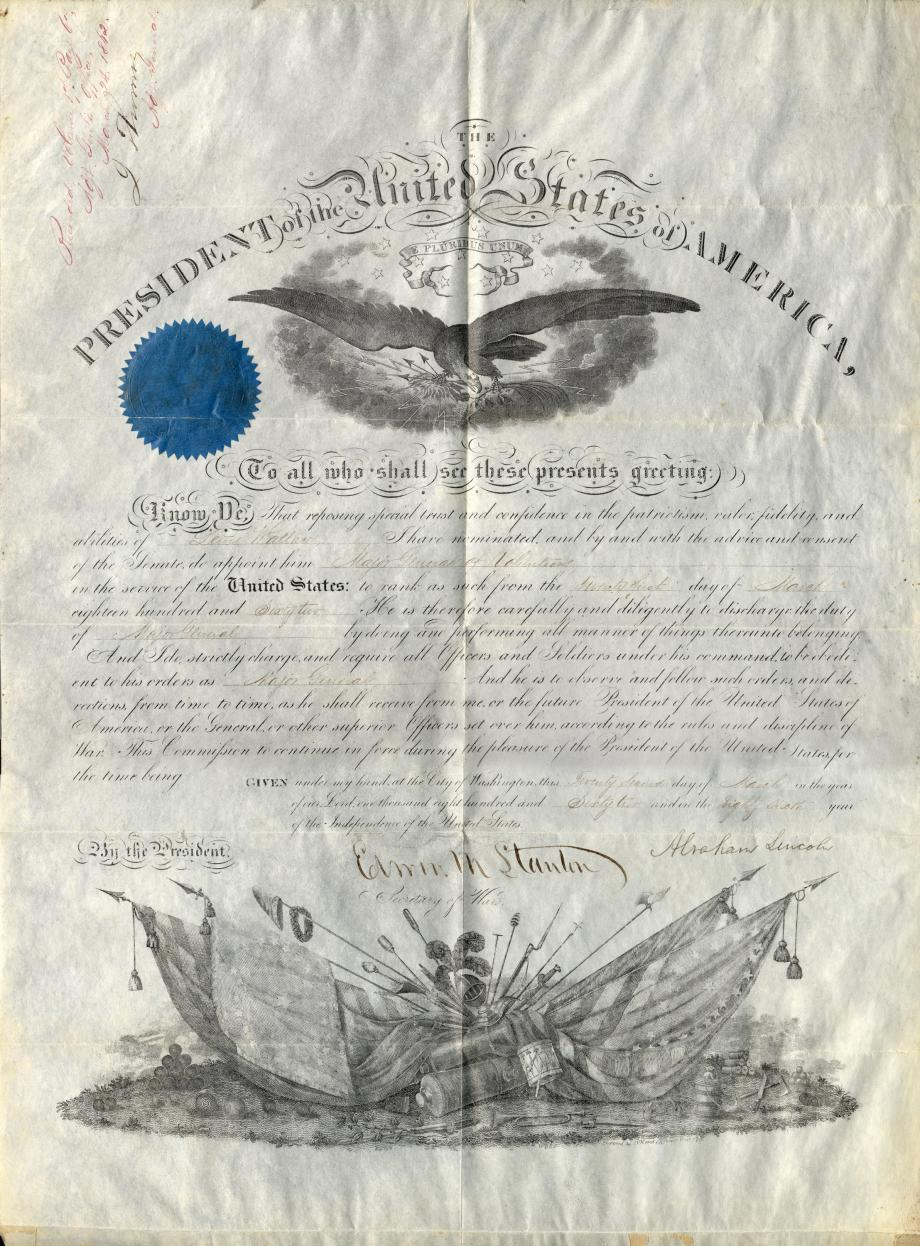 Lew Wallace promotion paper, to major general, then the highest rank in the Union Army. The papers are signed by Abraham Lincoln and Secretary of War Edwin M. Stanton.
