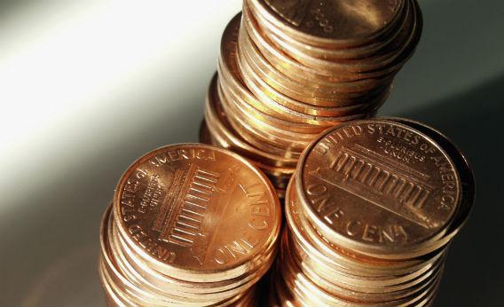 Stacks of pennies.