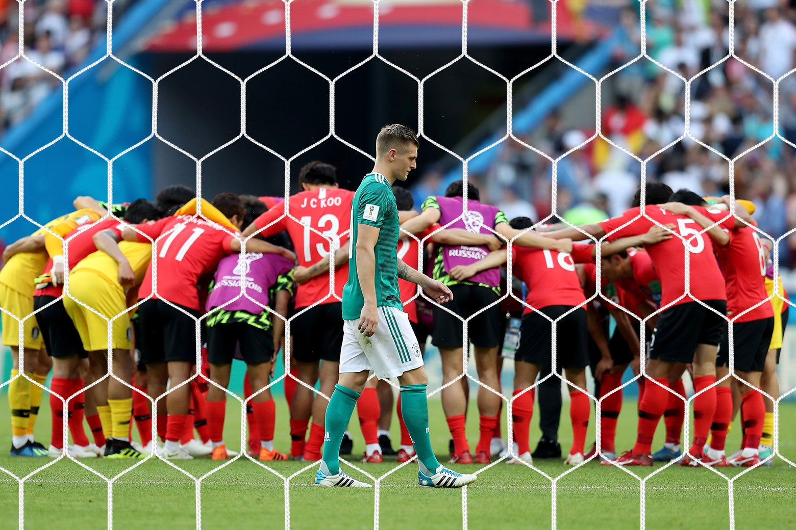 Germany's midfielder Toni Kroos reacts following his team's loss during the Russia 2018 World Cup Group F football match between South Korea and Germany at the Kazan Arena in Kazan on June 27, 2018. (Photo by BENJAMIN CREMEL / AFP) / RESTRICTED TO EDITORIAL USE - NO MOBILE PUSH ALERTS/DOWNLOADS        (Photo credit should read BENJAMIN CREMEL/AFP/Getty Images)