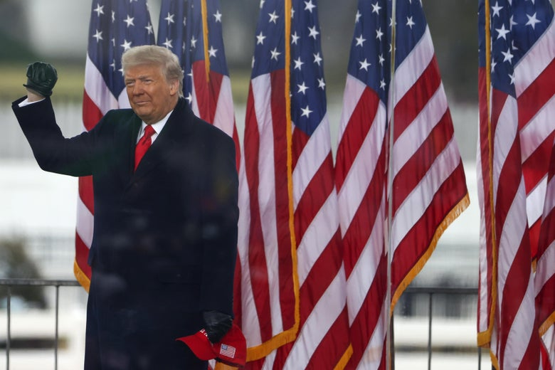 Trump on stage raising a fist in front of American flags