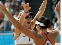 U.S. beach volleyball players Kerri Walsh (left) and Misty May-Treanor. Click image to expand.