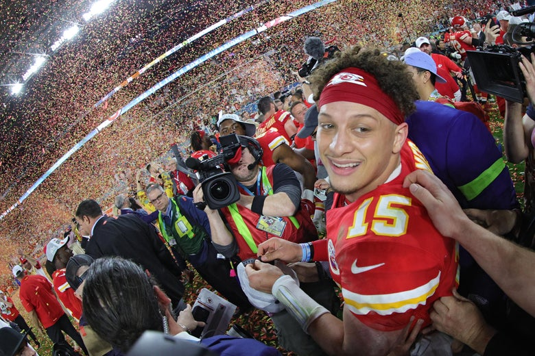 Patrick Mahomes celebrates after winning Super Bowl LIV.