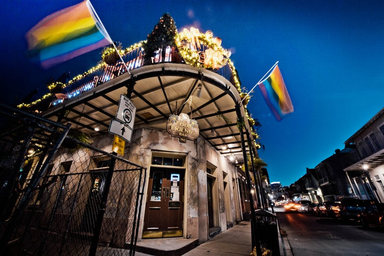 Exterior shot of Good Friends Bar in New Orleans