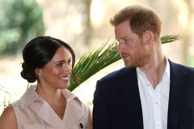 Harry and Meghan looking at each other.