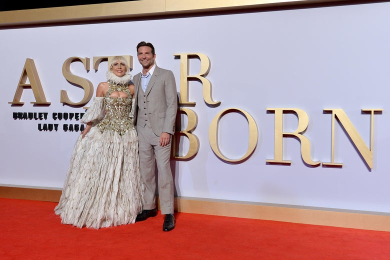 Lady Gaga and Bradley Cooper at the U.K. Premier of A Star Is Born in London.