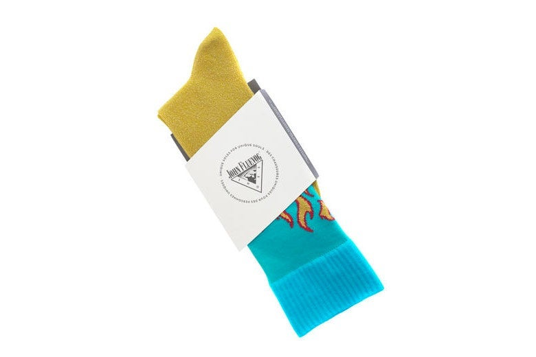 Blue and yellow John Fluevog socks