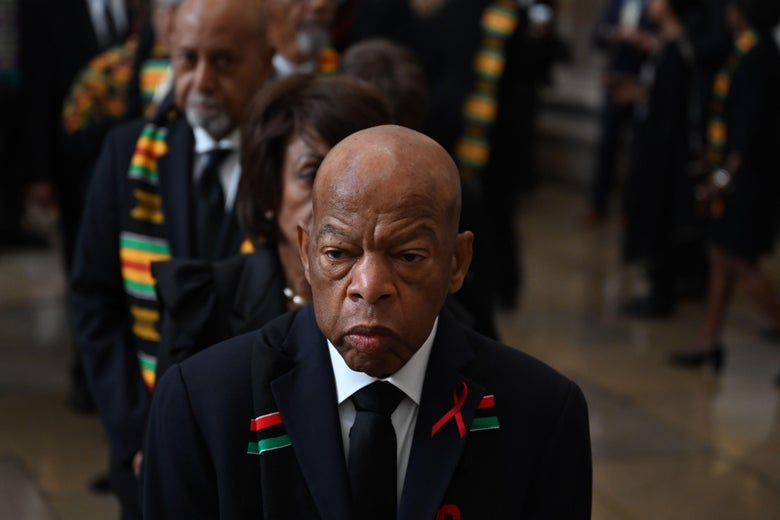 Rep. John Lewis and members of the Congressional Black Caucus gather for the memorial for Democratic US Representative from Maryland, Elijah Cummings, at the U.S. Capitol in Washington, D.C. on October 24, 2019.